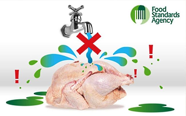 Do not wash raw chicken as the water from the washing is likley to be highly contaminated and can spread throughout the food preparation areas