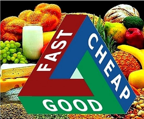 'Fast, Good or Cheap - Pick Two applies when choosing food for healthy meals. The fast is the time it takes to travel to the markets instaed of the supermarket