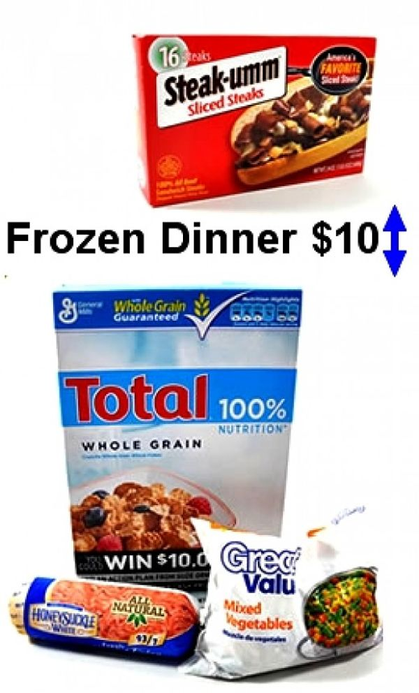 Frozen dinners compared with cost of whole food ingredients worth $10