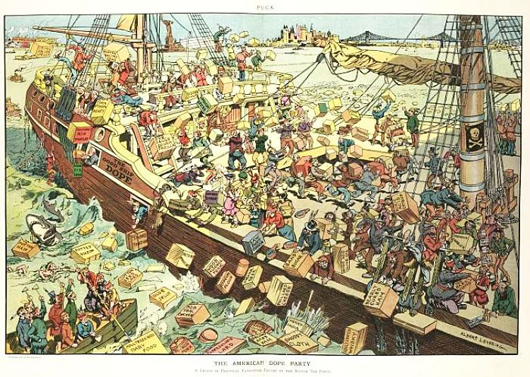 1906 Illustration shows many men dressed as Native Americans on board a ship labeled - The Good Ship Dope - throwing cartons of unhealthy food products over the sides, into the harbor.
