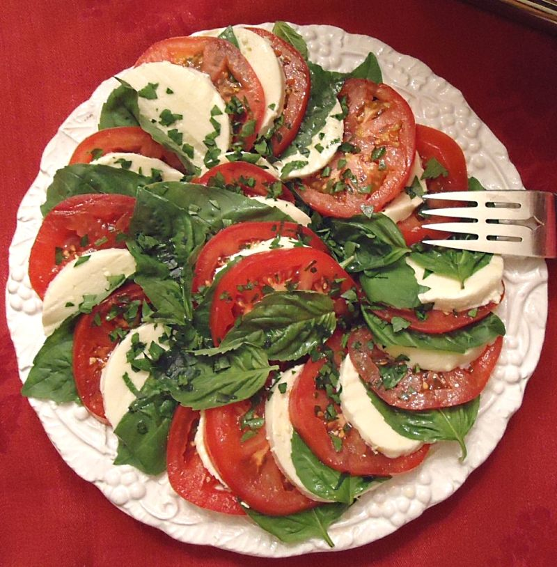 Nicely presented dish with the round segments of tomatoes creating a theme that is followed with the other ingredients