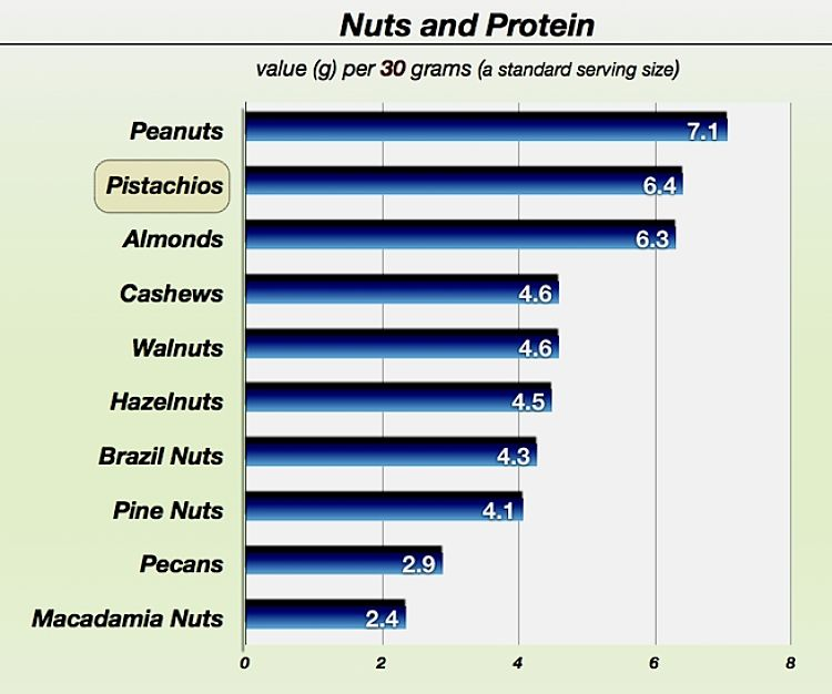 Protein levels in a range of common nuts. See more details in the article to choose the healthiest nut