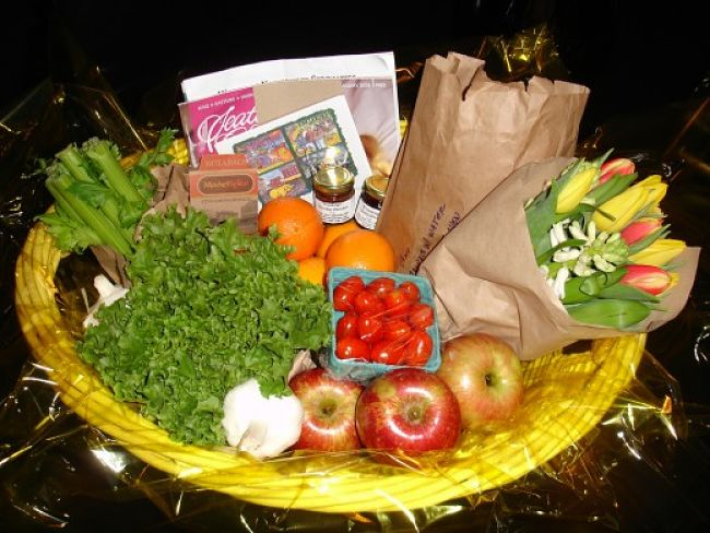 Fresh food platters and flowers are great food gifts for many occasions