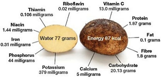 Nutrition summary for raw potatoes