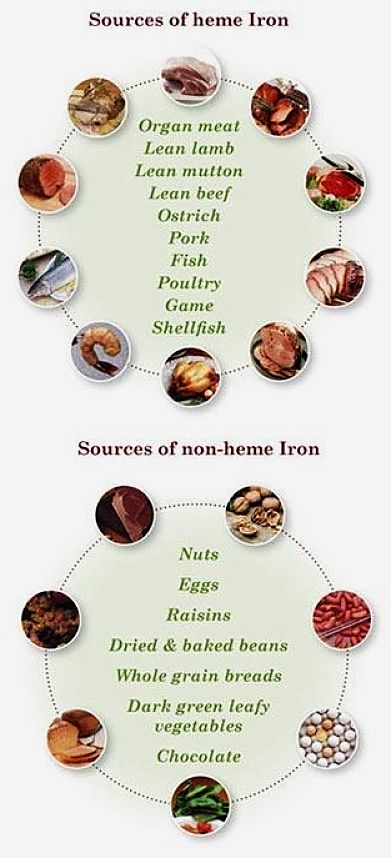 Sources of Heme and Non-Heme Iron in foods