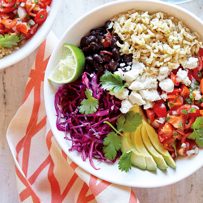 Whole-Grain Veggie Burrito Bowl Recipe - see more recipes and nutrition fats in this article
