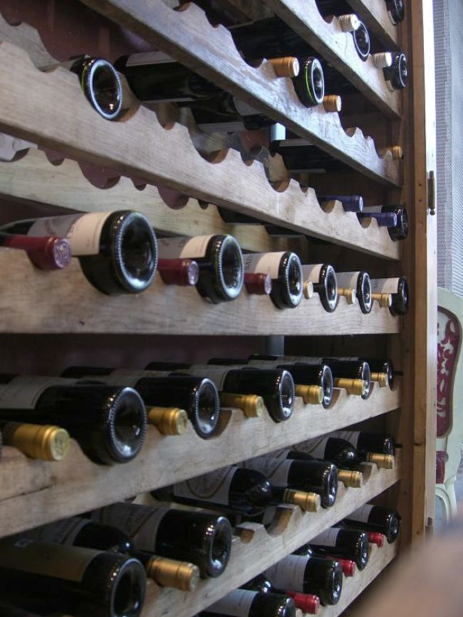 Wine in racks in a home cellar