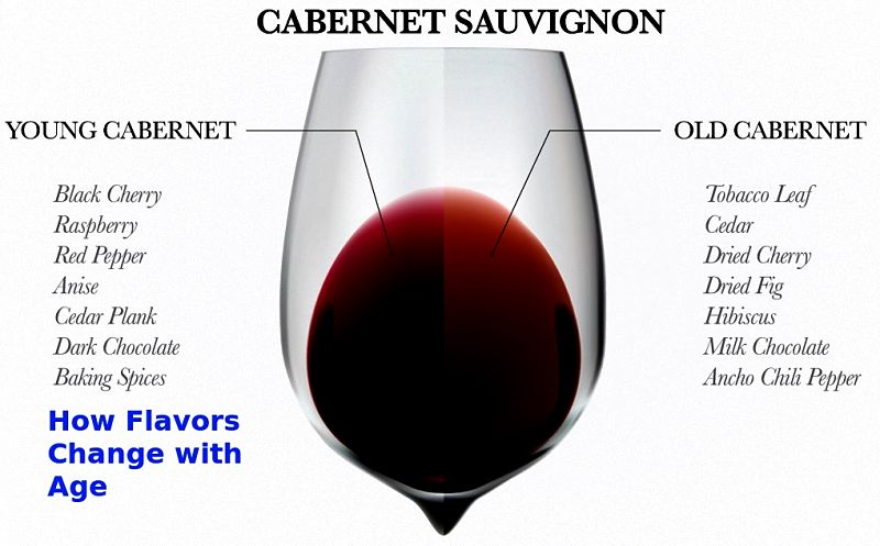 How aging changes the flavor of a red wine; It is less applicable for white wines